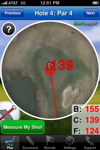 GolfLogix iphone app - greenview