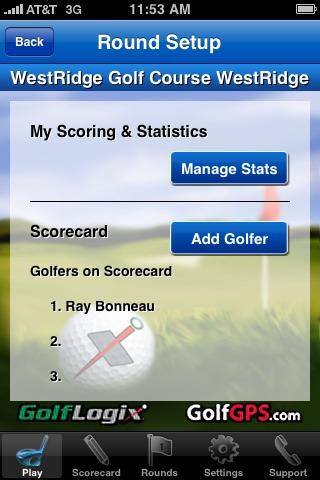 GolfLogix iPhone app - round setup