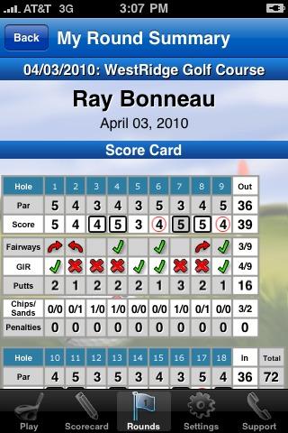 GolfLogix iPhone app - round summary front nine