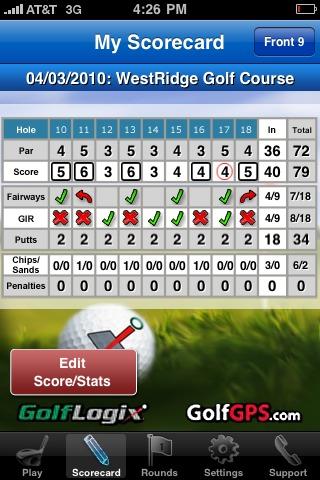 GolfLogix iPhone app - scorecard back nine