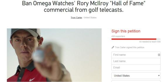 Petition To Ban McIlroy Omega Ad