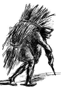 A peasant on his way to play golf at a muni.