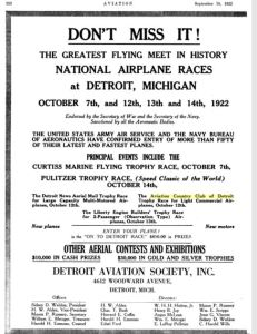 Ad for the Aviation Country Club of Detroit Flight Competition