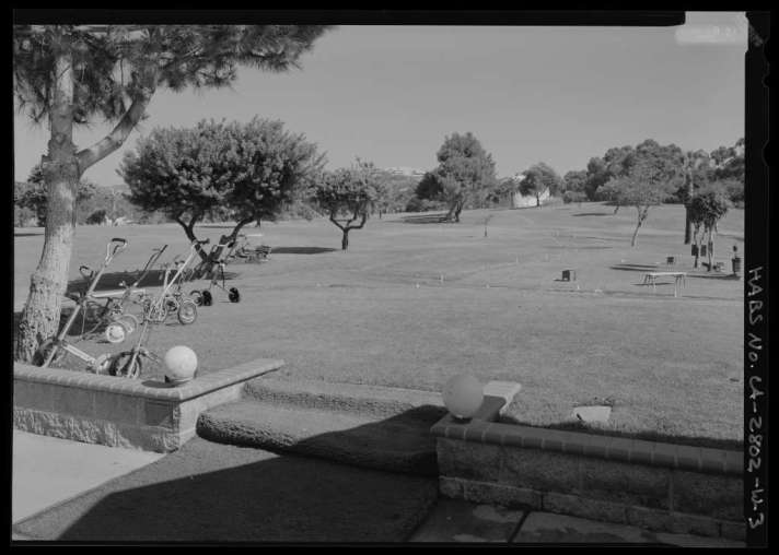 View of golf course from club house - National Home for Disabled Volunteer Soldiers, Pacific Branch, Golf Club House, 11301 Wilshire Boulevard, West Los Angeles, Los Angeles County, CA