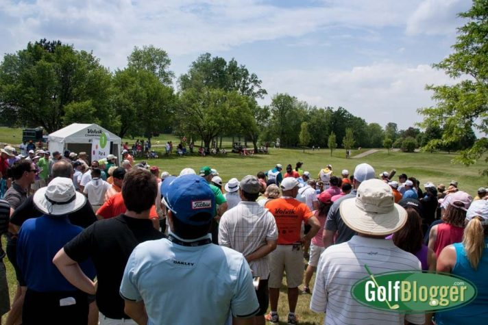 A crowd around the first tee at the Volvik Championship