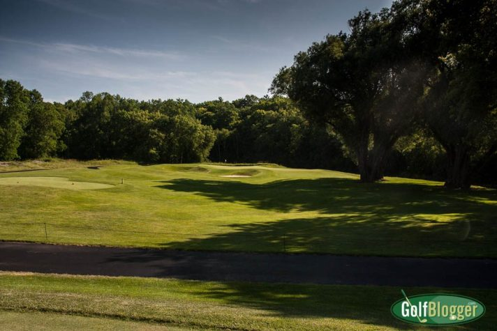 From the white tees, the thirteenth at the Blackwolf Run River Course measures 150 yards and has a much less difficult line.