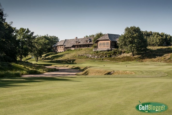A view of the eighteenth green and clubhouse at Kohler's Blackwolf Run River Course