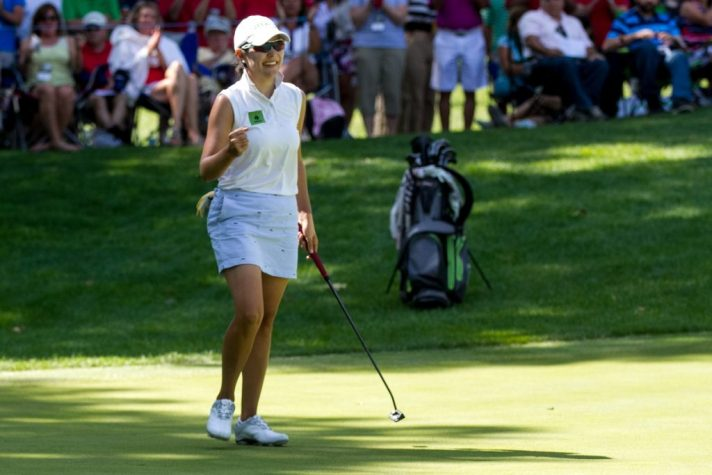 Paola Moreno reacts after sinking a birdie putt to take the outright lead and victory during the final round of the Tullymore Classic on Sunday, July 3, 2016. (Andrew Knapik Photography)