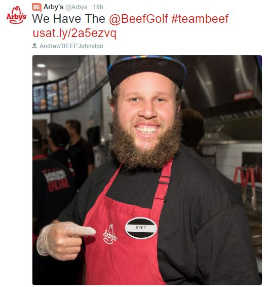"Andrew ""Beef"" Johnston Signs With Arbys"