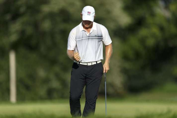 Brad Dalke reacts after making a putt during third round of match play at the 2016 U.S. Amateur at Oakland Hills Country Club in Bloomfield Hills, Mich. on Thursday, Aug. 18, 2016. (Copyright USGA/Jeff Haynes)