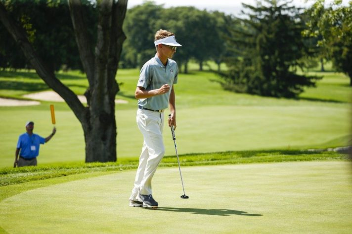 Dylan Meyer reacts to his made putt on the second hole to win the hole to go 2-up during quarterfinal round of match play at the 2016 U.S. Amateur at Oakland Hills Country Club  in Bloomfield Hills, Mich. on Friday, Aug. 19, 2016. (Copyright USGA/Chris Keane)