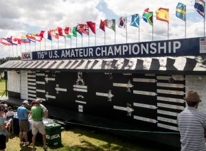 The Scoreboard for the US Amateur at Oakland Hills