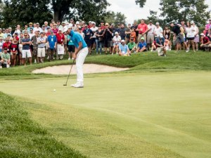 Curtis Luck putts on the 12th green during the afternoon round of the US Amateur finals.