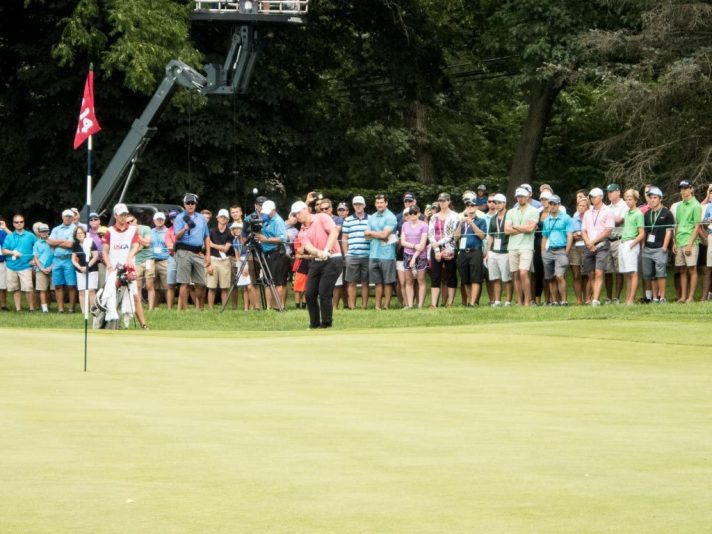 Brad Dalke trying to hole a shot to extend the match on fourteen during the afternoon round of the US Amateur finals.
