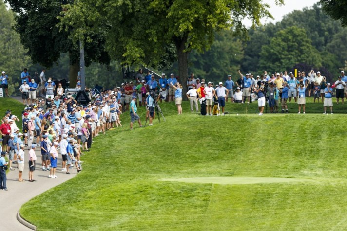Nick Carlson watches his tee shot on the ninth hole during third round of match play at the 2016 U.S. Amateur at Oakland Hills Country Club in Bloomfield Hills, Mich. on Thursday, Aug. 18, 2016. (Copyright USGA/Jeff Haynes)
