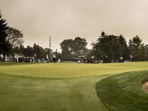 Nick Carlson and Curtis Luck on the first green.