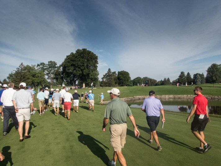 Approaching the eighth green.