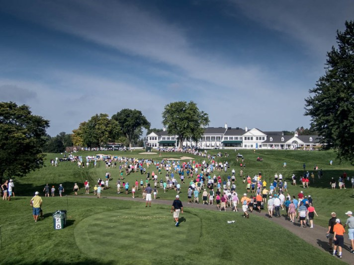 A view of the ninth green as Carlson and Luck play.