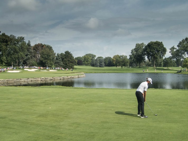Curtis Luck aims at the sixteenth green.