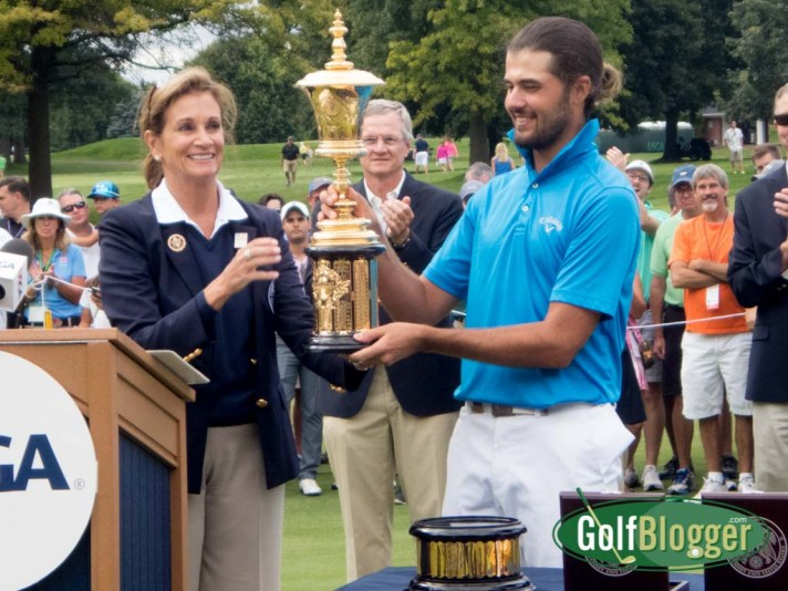 USGA President Diana Murphy presents the Havemeyer Trophy to Curtis Luck, winner of the 2016 US Amateur.