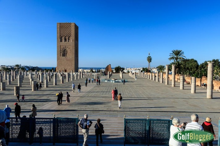 A view of the unfinished Hassan Tower on the Yacoub al-Mansour esplanade from the steps of the Mausoleum of Mohammed V.