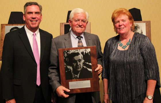 The Class of 2018, from left Tom Harding, Gordon LaFontaine and Debbie Williams- Hoak. LaFontaine holds the Hall of Fame plaque of Bud Erickson.
