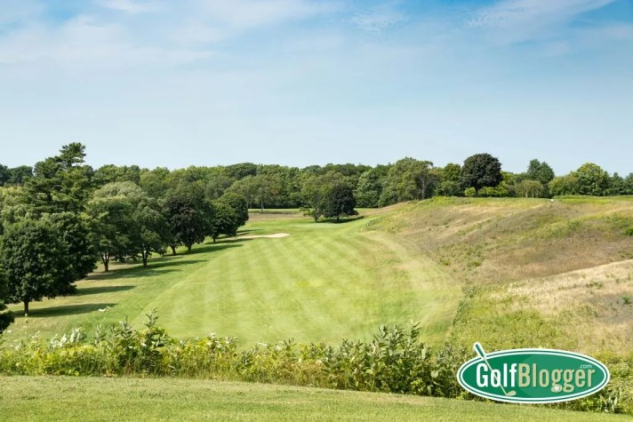 The first hole at Belvedere Golf Club in Charlevoix is a thrilling downhill ride.