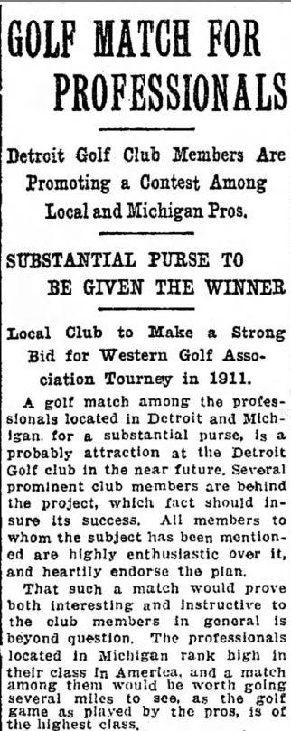 Detroit Golf Club Plans Professional Golf Tournament - in 1910