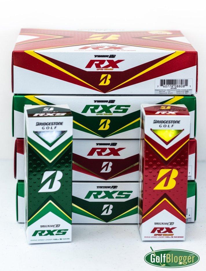 Bridgestone Tour B RX and RXS Golf Ball Review Boxes