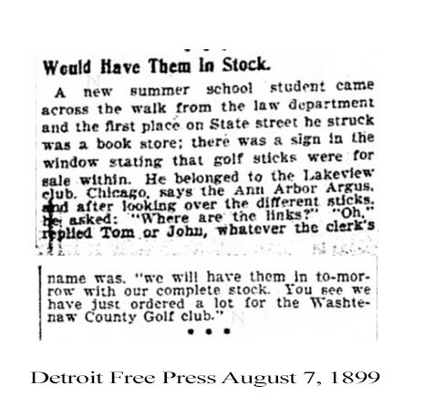Earliest Reference To The Washtenaw Golf Club - 1899