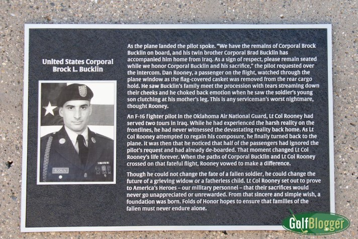 A memorial for Corporal Brock Bucklin, whose service to country was the genesis of Folds of Honor and American Dunes.