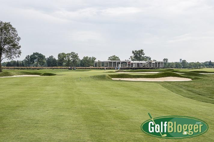 The Solheim Cup Will Showcase Classic Inverness Club A view of the greens complex at Inverness on the eleventh hole. The Meijer Pavilion for the Solheim Cup is in the background.