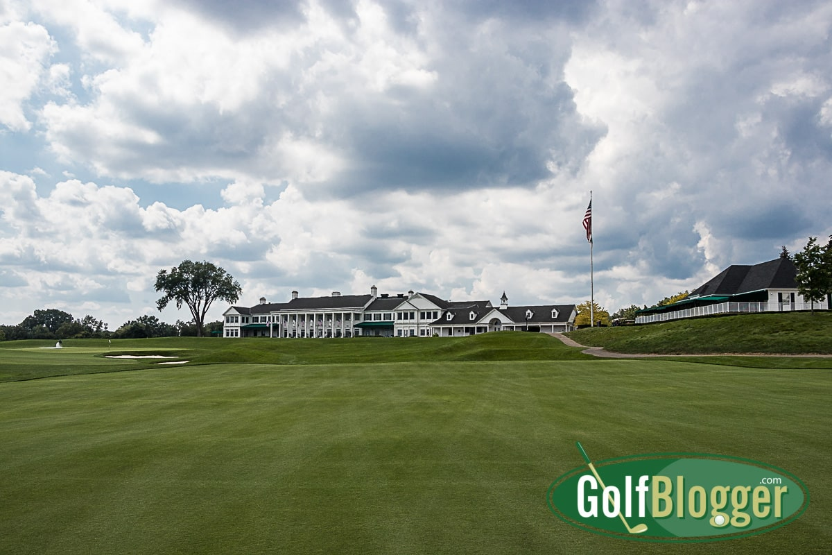 A view of the clubhouse from the first fairway.