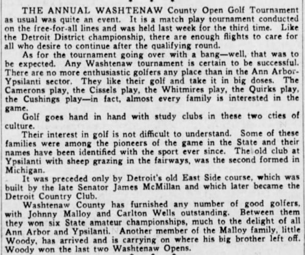Michigan County and District Golf Competitions In The 1930s