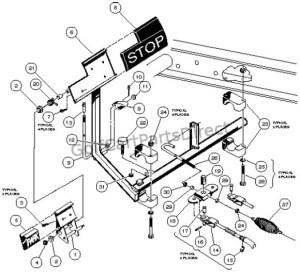 Brake Pedal & Cable Assembly  2 Wheel Braking  Club Car