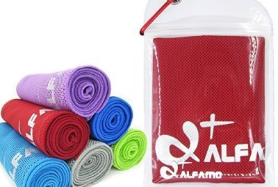 """51 ik4Yi50L - Cooling Towel for Instant Relief - 40"""" Long As Scarf - XL Ultra Soft Breathable Mesh Yoga Towel - Keep Cool for Running Biking Hiking Golf & All Other Sports, Waterproof Bag Packaging with Carabiner"""