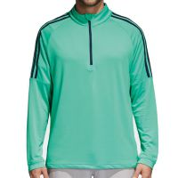 Adidas Three Stripe Quarter Zip Top - Aero Green