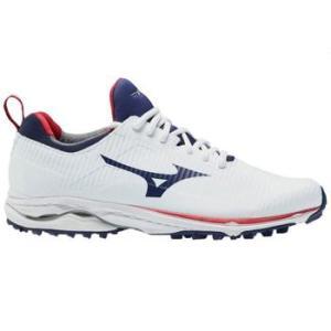 Mizuno Wave Cadence Spikeless Golf Shoes - White/Blue Depth