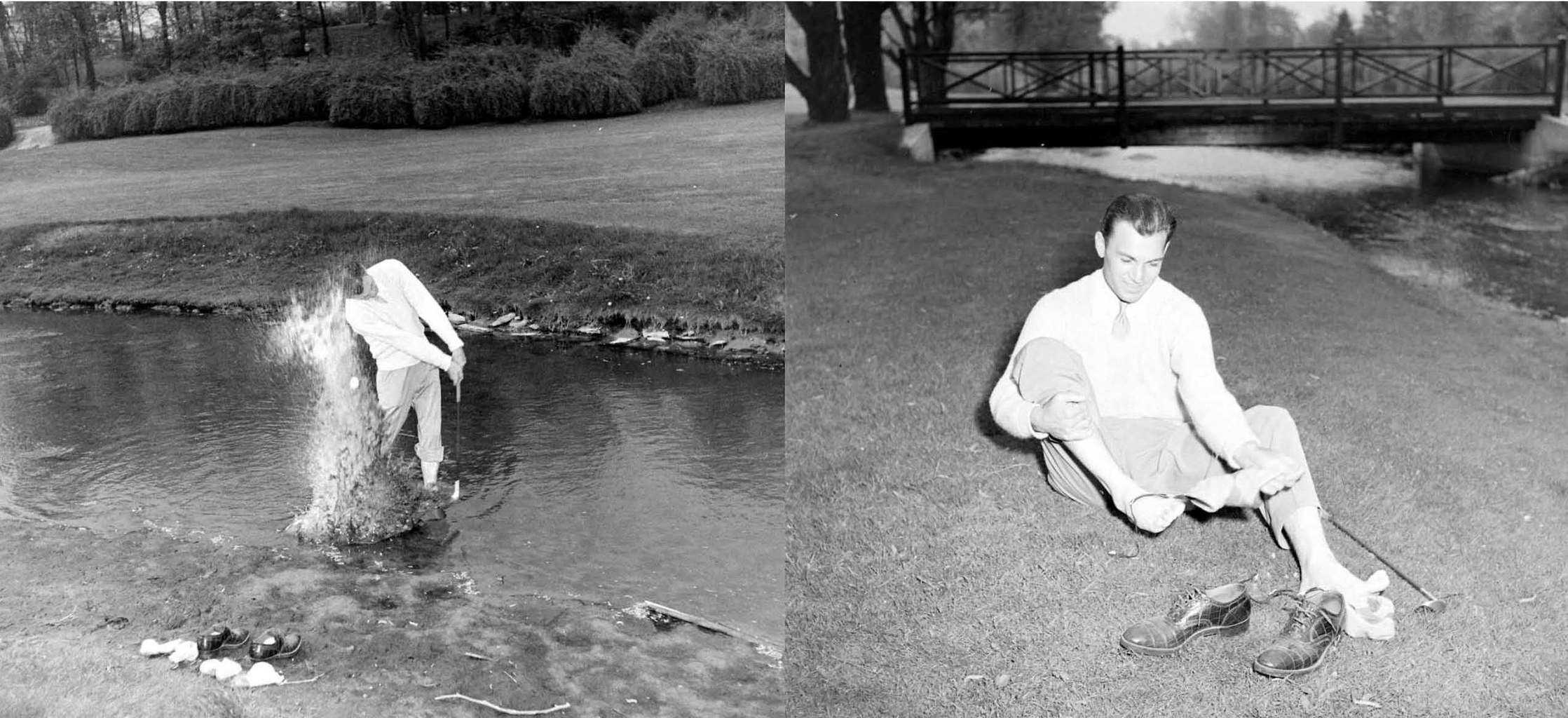 Pictured is Ben Hogan playing a recovery shot out of a water hazard and  then replacing his shoes during a photo shoot after he won the 1942  Asheville Land ...