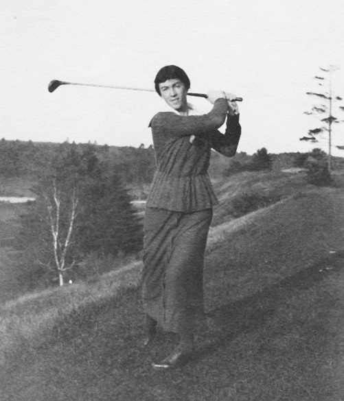 A photograph of Ada Mackenzie on the hill overlooking the valley part of Mississaugua Golf Course, by kind permission of Mississaugua Golf and Country Club
