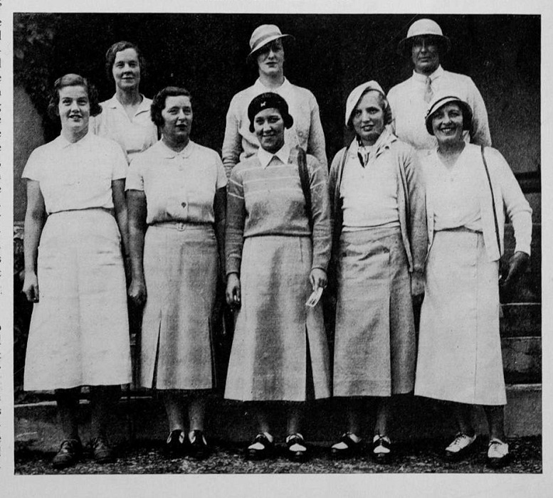 Great Britain Team - back row from left to right...Miss Molly Gourlay, Miss D Pumpton, Miss Doris Chambers - front row from left to right...Miss Pam Barton, Mrs G Coats, Miss Wanda Morgan, Miss Diana Fishwick, Mrs J B Walker...photograph from Canadian Golfer, kindly supplied by Margaret McLaren