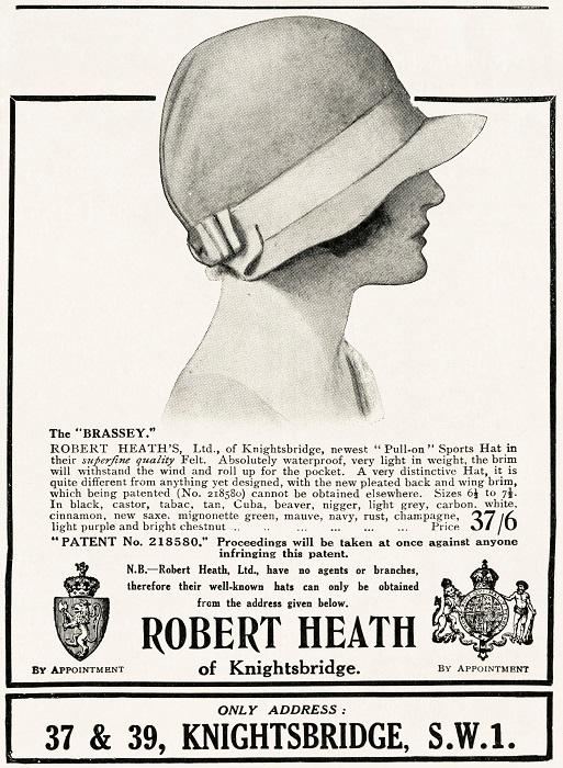 Advert for Robert Heath Hats...Ada Mackenzie sourced hats from Robert Heath of Knightsbridge, London