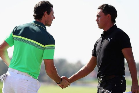Rory McIlroy & Rickie Fowler await fans at the Arnold Palmer Invitational