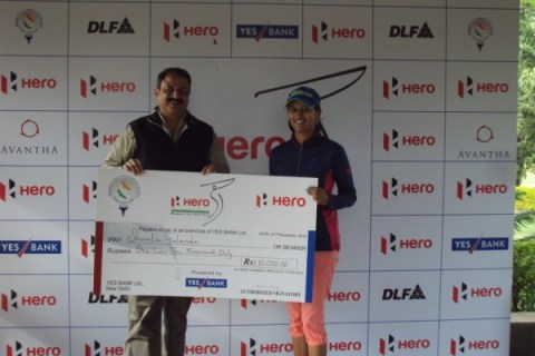 Shweta Galande survived a late slip to win the playoff in Jaipur