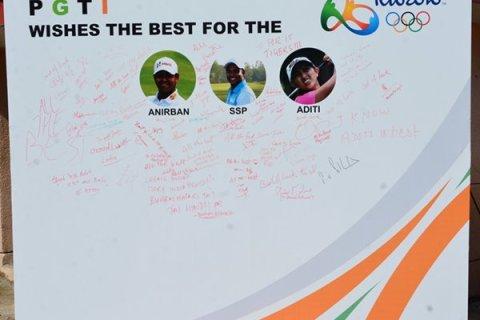 m_Messages by PGTI members for Olympians Anirban Lahiri, SSP Chawrasia & Aditi Ashok