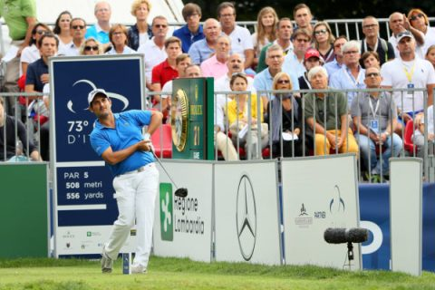 Alexander Levy of France hits his tee shot on the 1st hole during the third round of the Italian Open at Golf Club Milano