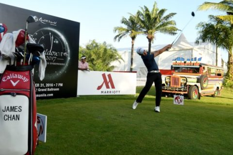 Chan Shih-chang of Chinese Taipei in action during the pro-am tournament of the Resorts World Manila Masters