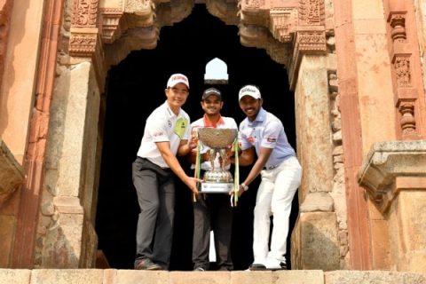 L-R - Liang Wenchong of China, Chiragh Kumar of India, defending champion and S.Chikkaranagappa of India