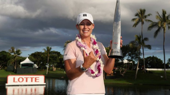 Cristie Kerr with winners trophy