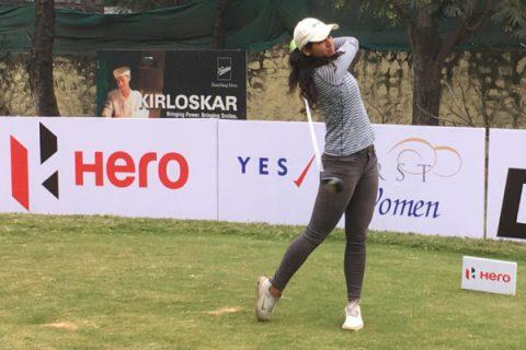 Neha Tripathi gains a two stroke lead in Pune